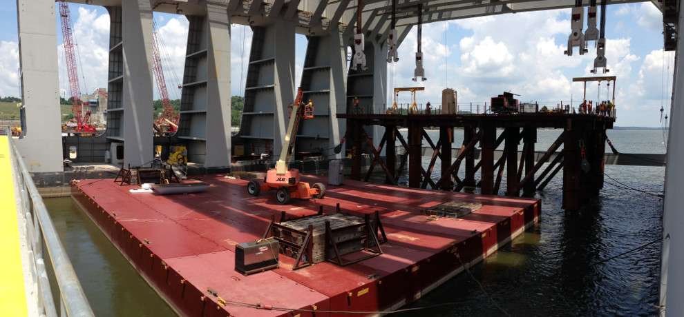 Olmsted Dam inside cat barge